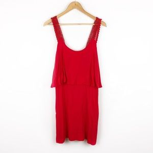 Anthropologie Maeve Neon Red Lace Tiered Dress